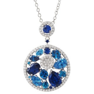 Luxiro Sterling Silver Lab-created Sapphire and Cubic Zirconia Pendant Necklace