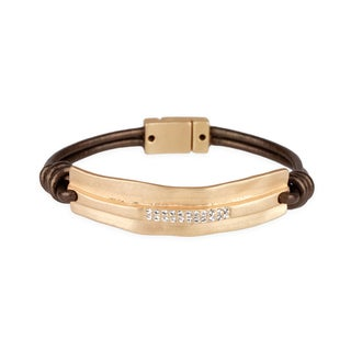 Saachi Brown Leather Metal Rugged Bar Bracelet (China)