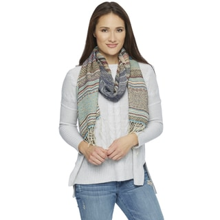 Saachi Women's Blue Teal Mixed Pattern Scarf (China)