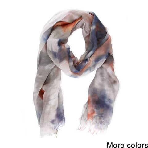 Handmade Saachi Women's Coton and Linen Blend Tie-Dye Scarf (China)