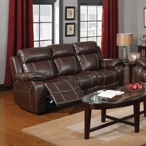 Shop Coaster Company Brown Leather Motion Sofa Free