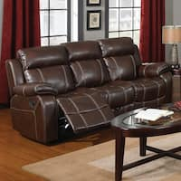 Global Furniture Blanche Walnut Console Reclining Sofa