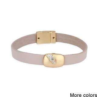 Handmade Saachi Sliced Crystal Leather Bracelet (China) (2 options available)