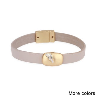 Handmade Saachi Sliced Crystal Leather Bracelet (China)
