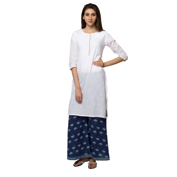 f5b28927e06 Handmade In-Sattva Ethnicity Women's Indian Pure Cotton Summer Style  White