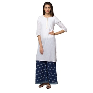 In-Sattva Ethnicity Women's Indian Pure Cotton Summer Style White Kurta Tunic
