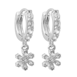 Luxiro Gold Finish Sterling Silver Cubic Zirconia Flower Children's Earrings