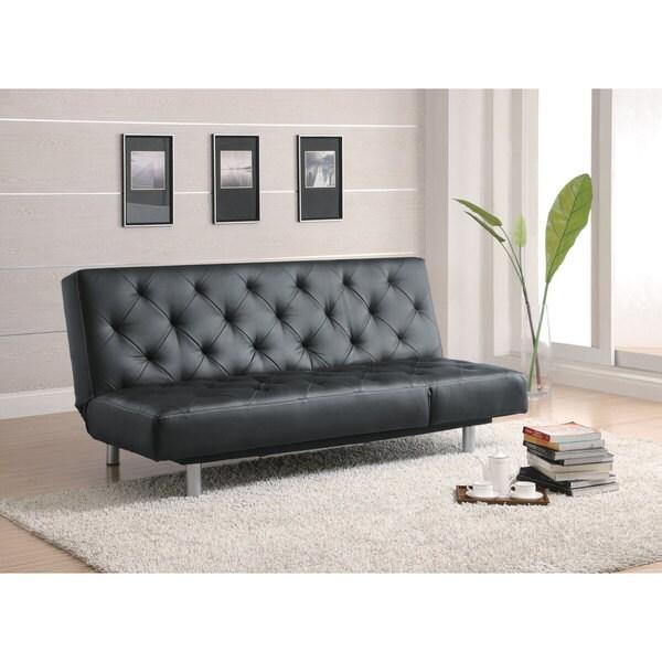 Shop Coaster Company Black Vinyl Sofa Bed Free Shipping Today Overstock 12190092