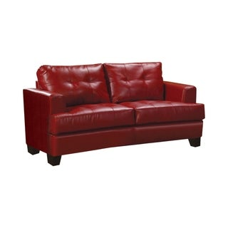 Coaster Company Red Bonded Leather Loveseat