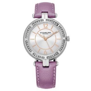 Stuhrling Original Women's Serena Swarovisky Crystal Purple Leather Strap Watch|https://ak1.ostkcdn.com/images/products/12190098/P19038937.jpg?impolicy=medium