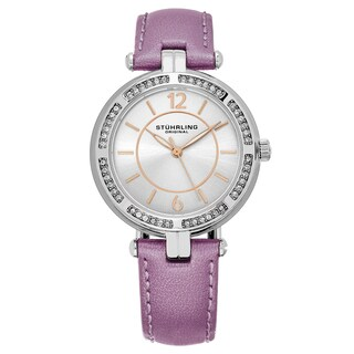 Stuhrling Original Women's Serena Swarovisky Crystal Purple Leather Strap Watch