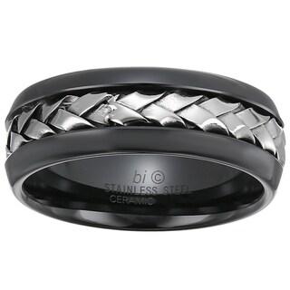Stainless Steel and Ceramic Men's Woven Center Ring