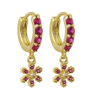 Luxiro Gold Finish Sterling Silver Lab-created Ruby Flower Children's Huggie Earrings