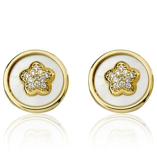Little Miss Twin Stars Flower Girl 14K Gold Plated Coin Pearl Accented With Cz Flower Stud Earring