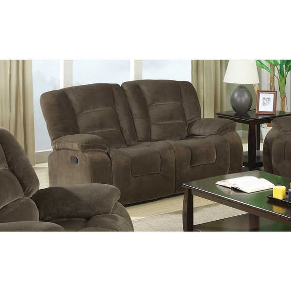 Shop Coaster Company Brown Velvet Center Console Recliner Loveseat
