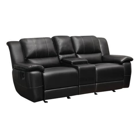 "Coaster Company Black Bonded Leather Reclining Glider Loveseat with Console - 80.50"" x 38.50"" x 39.25"""