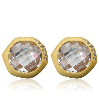 Riccova City Lights Satin Cubic Zirconia Accented Faceted Clear Stone Round Stud Ear