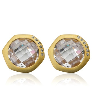 Riccova City Lights Satin 14K Gold-plated Cubic Zirconia Accented Faceted Clear Stone Round Stud Earrings