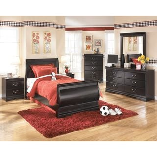 Signature Design by Ashley Huey Vineyard Black Twin Sleigh Bed