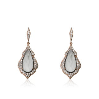 Riccova City Lights Cubic Zirconia Trimmed Rose Gold Plated Fish Hook Earring With Faceted Teardrop Center Stone/ Brass