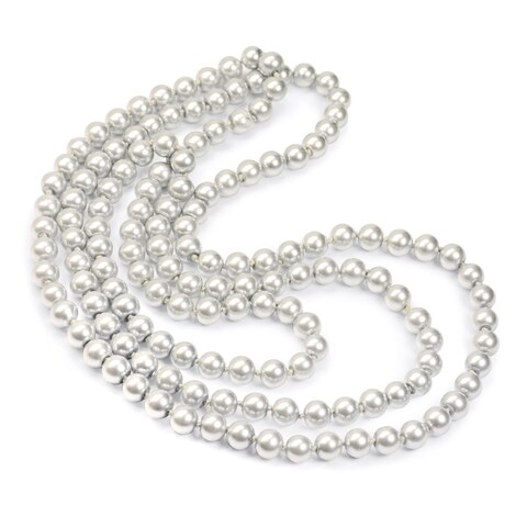 Sweet Romance Art Deco Knotted Pearl 52-inch Long Rope Necklace