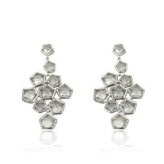 Riccova City Lights Rhodium-plated Cubic Zirconia Large Chandelier Dangle Earrings