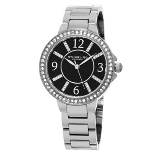 Stuhrling Original Women's Quartz Allure Swarovski Element Crystal Watch with Stainless Steel Bracelet