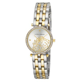 Laura Ashley Two-tone Gold Five Link Floral Embossed Dial Stone Bezel Watch