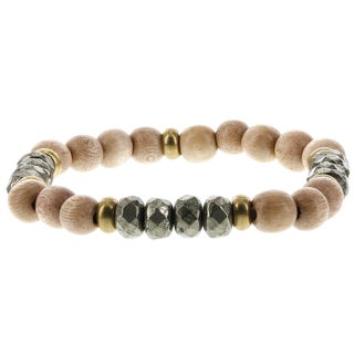 Fox and Baubles Natural Wood, Pyrite, and Brass Men's Beaded Stretch Bracelet