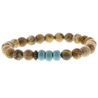 Fox and Baubles Picture Jasper, Stabilized Turquoise, and Brass Spacer Men's Stretch Bracelet