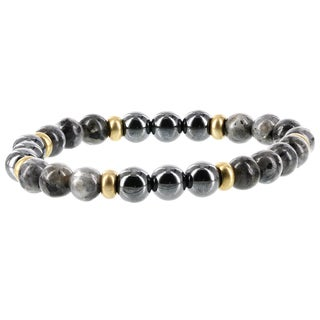 Fox and Baubles Hematite, Labradorite and Brass Spacers Men's Stretch Bracelet