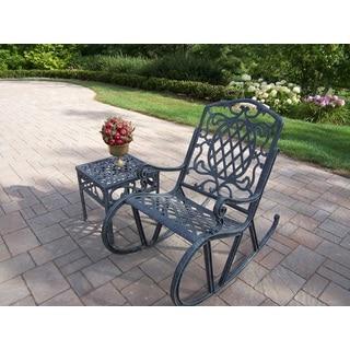 Dakota 2-piece Outdoor Cast Aluminum Rocking Chair and Side Table Set