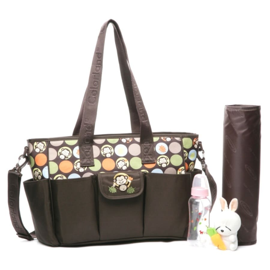 Colorland Waterproof Nylon Mummy Nappy Tote in Monkey Bro...