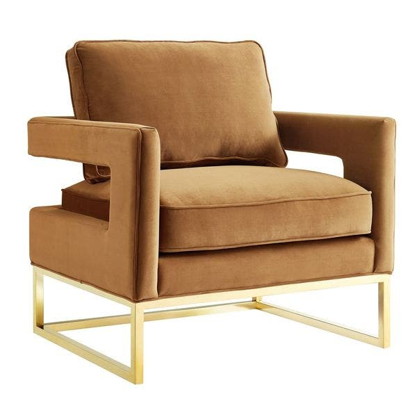 Prime Shop Avery Cognac Velvet Chair Free Shipping Today Theyellowbook Wood Chair Design Ideas Theyellowbookinfo