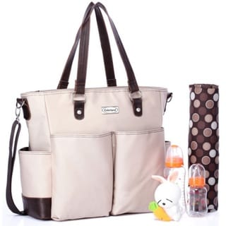 Colorland Khaki Long Strap Comfortable Tote Diaper Bag