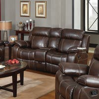 Copper Grove Glentress Brown Double Gliding Loveseat with Console