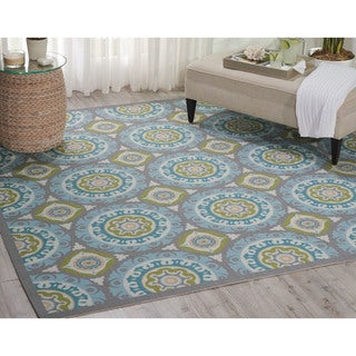 Waverly Sun N' Shade Solar Flair Jade Area Rug (8'6 Square) by Nourison