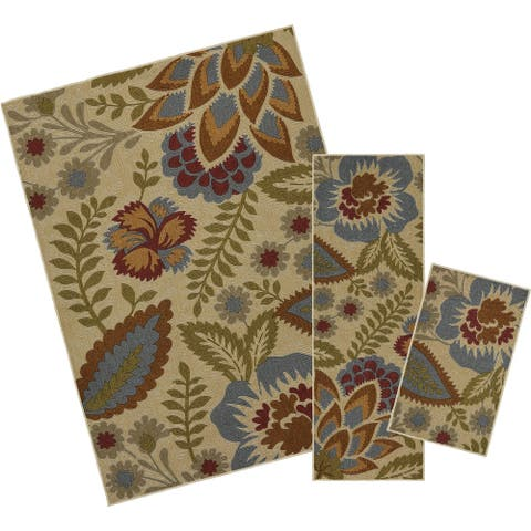 Mohawk Soho Crewel Floral Spice (Set Contains: 18 x 30 20 x 60 and 60 x 84) - 5' x 7'