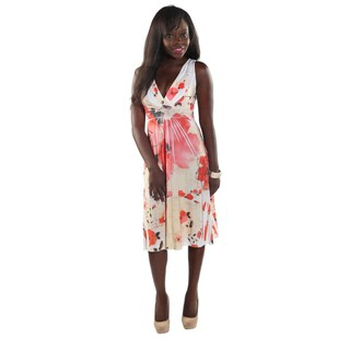 Hadari Women Sleeveless V-Neck Flower Print SunDress