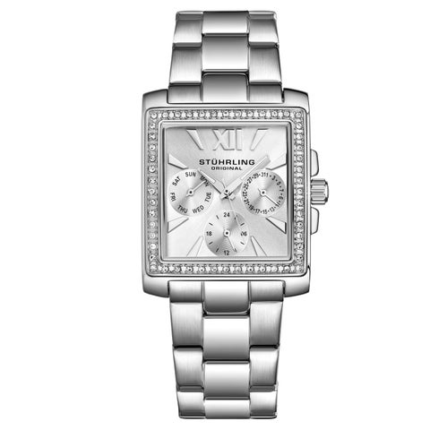 Stuhrling Original Women's Quartz Victoria Swarovski Element Crystal Stainless Steel Link Braclet Watch - silver