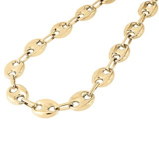 Decadence 14k Yellow Gold 7.70mm Puffed Mariner Link Chain