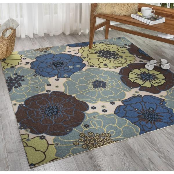 Home And Garden Rugs: Shop Nourison Home And Garden Light Blue Indoor/ Outdoor