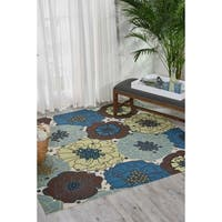 "Nourison Home and Garden Light Blue Indoor/ Outdoor Area Rug (8'6 x 8'6) - 8'6"" x 8'6""square"