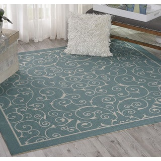 Nourison Home and Garden Light Blue Area Rug (8'6 Square)