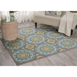 Waverly Sun N' Shade Solar Flair Jade Indoor/ Outdoor Area Rug by Nourison (6'6 Square)