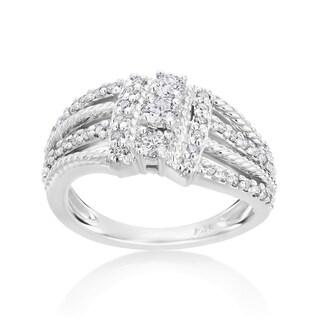 Andrew Charles 14k White Gold 1/2ct TDW Diamond 3 Row Ring