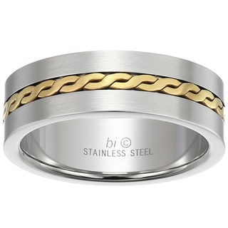 Stainless Steel Men's Gold-tone Rope Inlay Ring