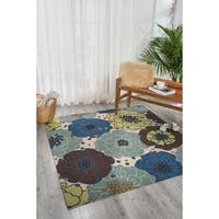 """Nourison Home and Garden Light Blue Indoor/ Outdoor Area Rug (6'6 x 6'6) - 6'6"""" x 6'6"""" square"""