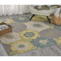 Nourison Home and Garden Green Area Rug (5'3 Square) - 5'3 x 5'3