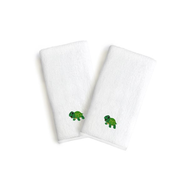 Sweet Kids 2-piece White Turkish Cotton Hand Towels with Embroidered Green Turtle (Set of 2)